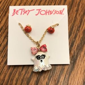 Betsey Johnson ghost necklace with earrings